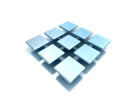 three dimensional shape: 3D blue metal squares