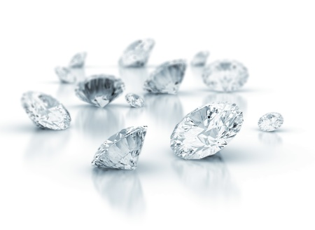 ダイヤモンド: 白い背景の上のダイヤモンド