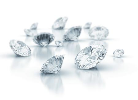Diamanten op witte achtergrond