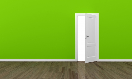 Open door and large green wall - eco concept  photo