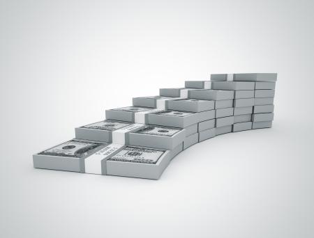 money bills: Steps made of 100 us dollar bills
