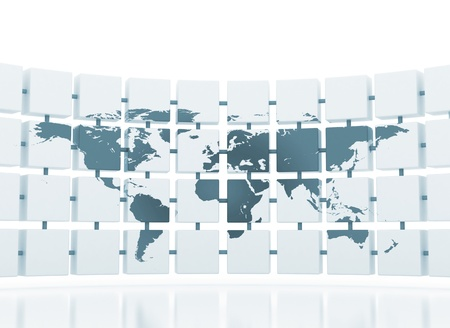 World map on connected 3d cubes