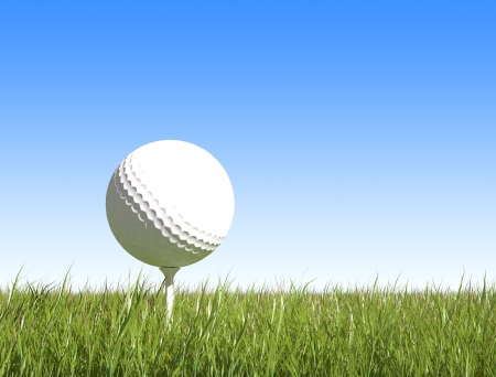 golf ball on green grass blue sky background  photo