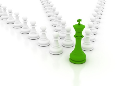 Leadership conceptual image with green chess king in front photo
