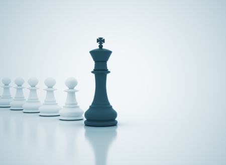 leader concept: Leadership concept - chess king leading