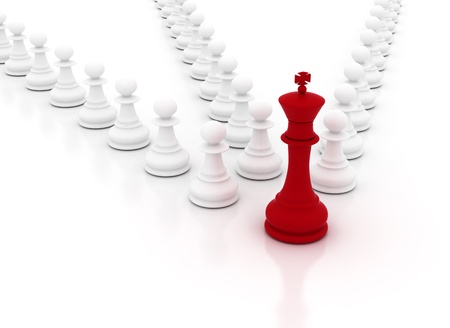Leadership concept - chess king leading