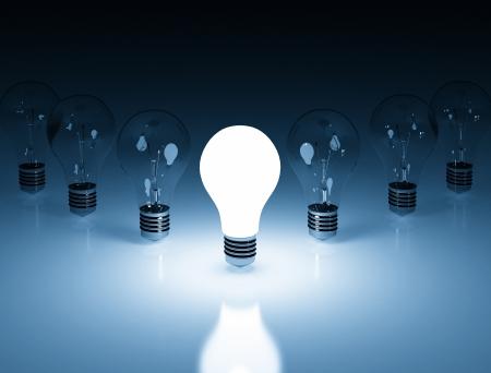 Single bright light bulb  photo