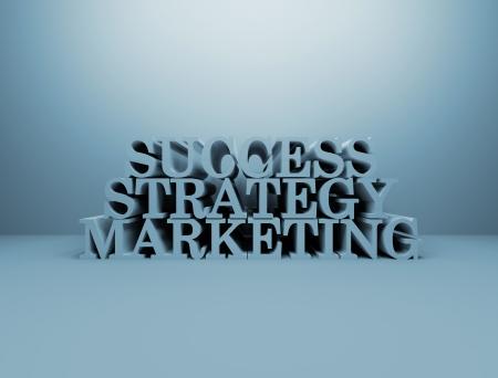 success marketing strategy 3d text photo