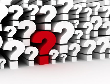 Question marks 3d background single red  Standard-Bild