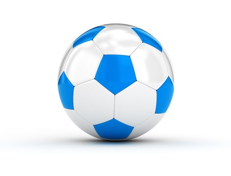 Soccer ball blue and white on white background photo