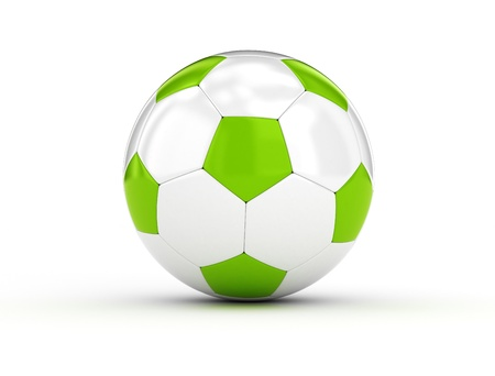 Soccer ball white and green on white background photo