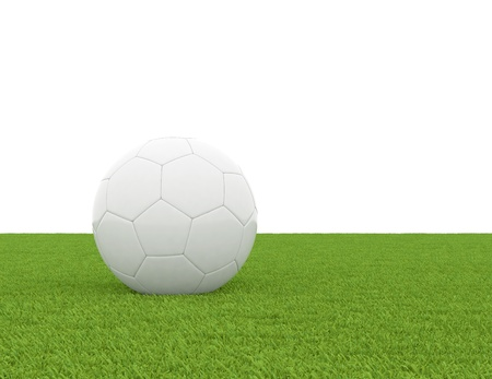 shootout: soccer ball on green grass isolated on white background