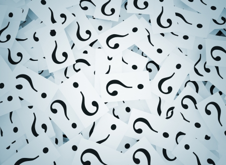 Question marks on notes