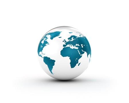 asia globe: Shiny Blue World Globe Stock Photo