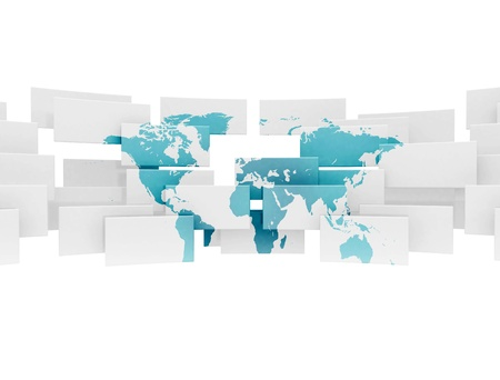 world group: World map on 3d sqaures  Stock Photo