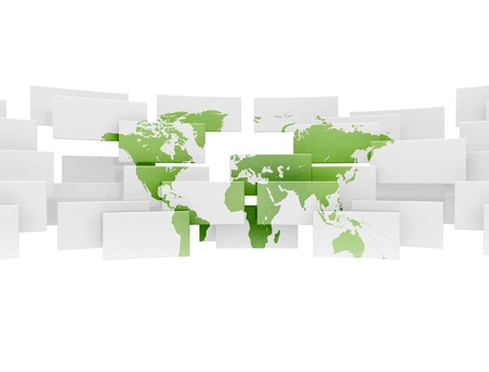 Green world map on 3d sqaures