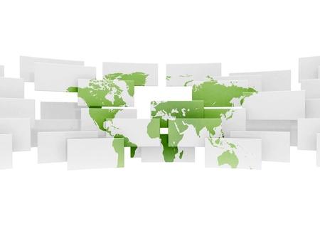 Groene wereld kaart op 3d sqaures