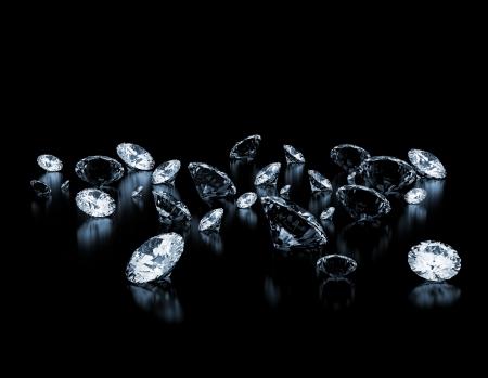 Group of diamonds on black background