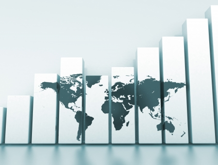 Global economy 3D graph Stock Photo
