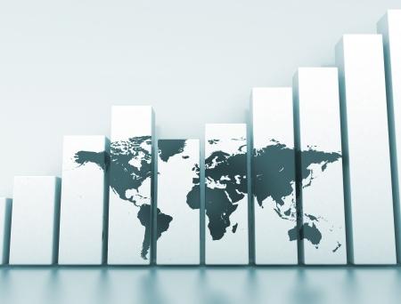 Wereldeconomie 3D-grafiek Stockfoto