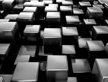 Abstracte zwart metallic kubussen achtergrond Stockfoto