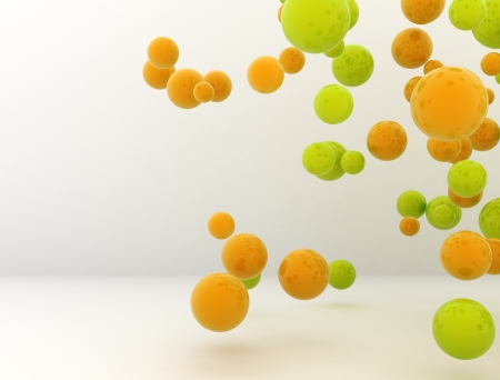 3d dimensional: 3D green and orange spheres