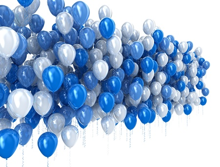 Blauwe ballonnen geïsoleerd op witte achtergrond