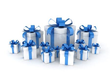 Blue ribbon gift boxes on white background photo