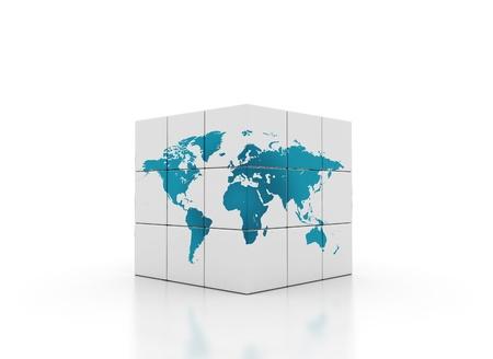 kubussen met wereldkaart 3d render Stockfoto