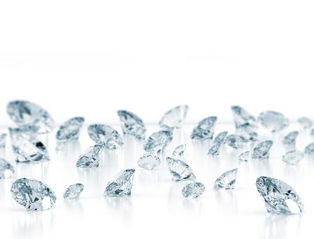 Diamonds close up on white background  写真素材
