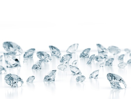 Diamonds close up on white background  Stock Photo