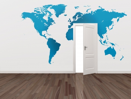 world map on wall and open door
