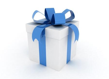 blue gift box: Gift box blue ribbon