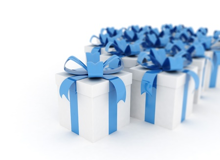 White gift boxes with blue ribbon photo