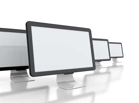 computer displays wtih multiple images isolated on white background Banco de Imagens - 18429623