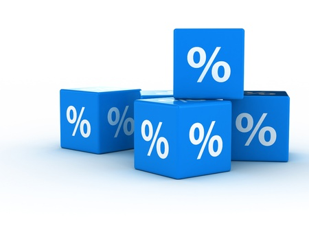 Percentage sign on blue cubes
