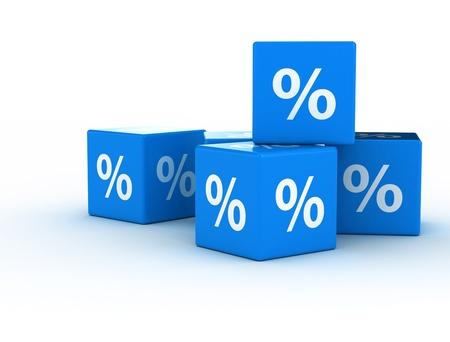 Percentage sign on blue cubes Banco de Imagens - 18429639