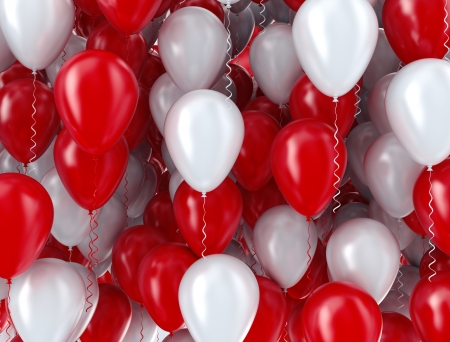 lots: Red and white balloons background Stock Photo