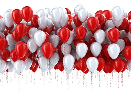 levitation: Red and white party balloons