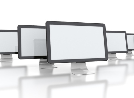 computer geeft wtih meerdere afbeeldingen op een witte achtergrond Stockfoto