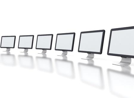 multiple image: Row of monitors