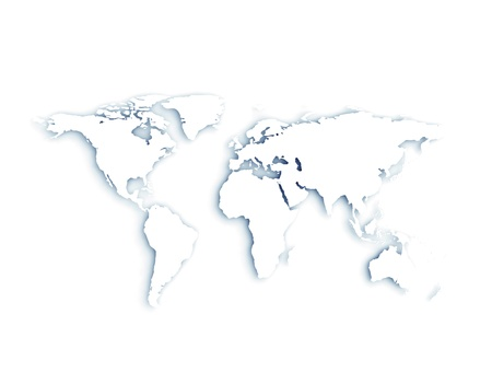 3D World kaart White met schaduwen