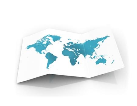 wereldkaart op een stuk papier cardbord