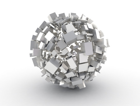 big business: Abstract sphere made of 3d cubes