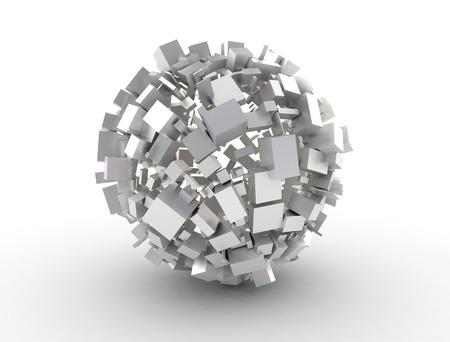 large build: Sfera astratta fatta di cubi 3d Archivio Fotografico