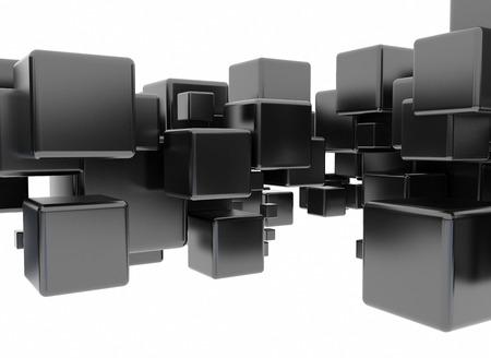 Abstract 3d digital black cubes  photo
