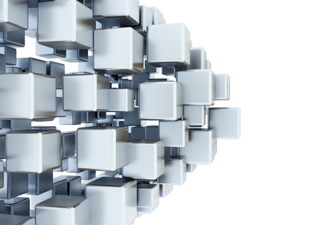 Digital 3d metallic cubes