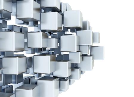 coordinated: Digital 3d metallic cubes