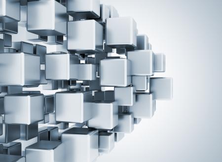 Abstrat digital 3d metallic cubes  写真素材