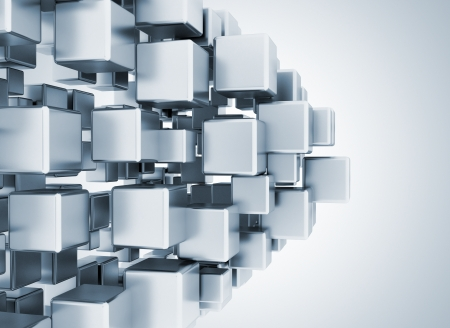Abstrat digital 3d metallic cubes  Imagens
